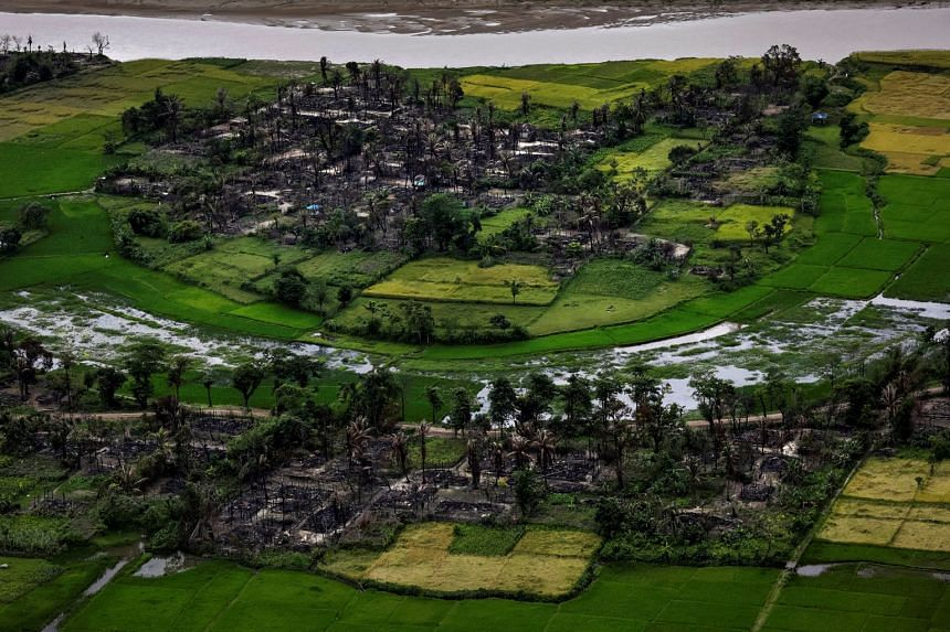 A file photo taken on Sept 27, 2017, shows the remains of a burned Rohingya village near Maungdaw in Myanmar's Rakhine state. Violence in Maungdaw on Dec 17, 2018, saw four local Buddhists attacked and two killed.
