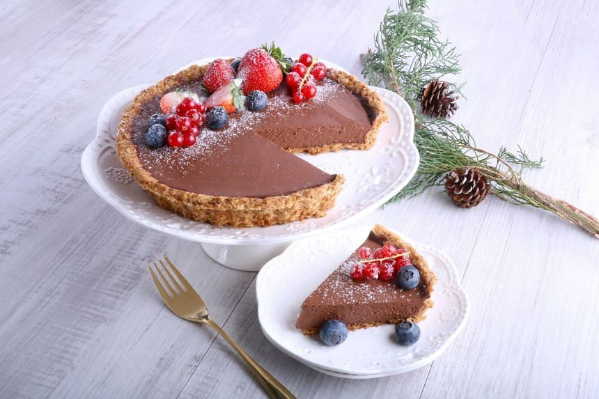 Cedele's Vegan Chocolate Berries Pie is made with organic sprouted tofu and 70 per cent non-dairy dark couverture Belgian chocolate.