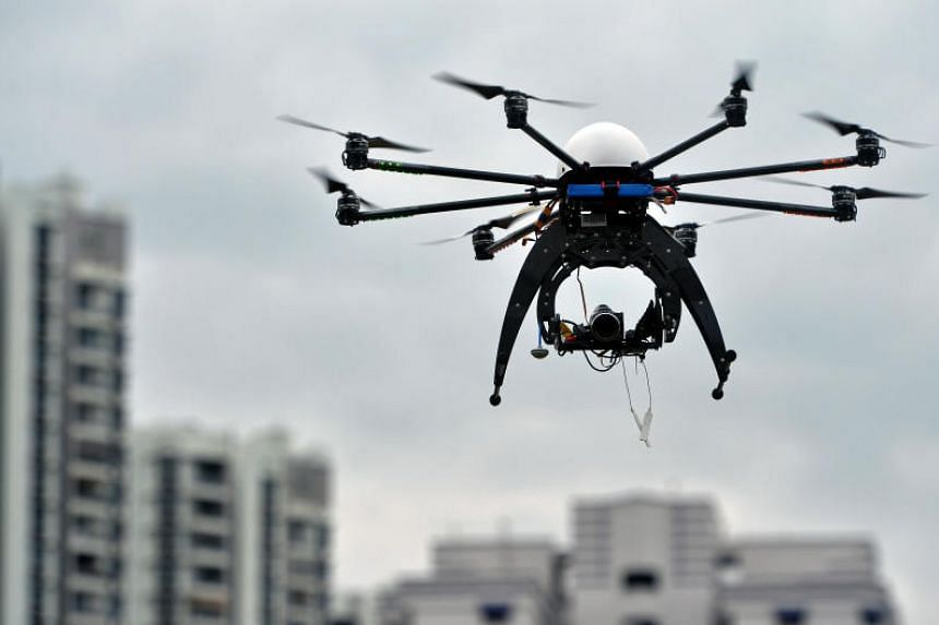 A drone is used as part of an inter-agency collaboration for inspections of construction sites in Singapore on Feb 4, 2016.