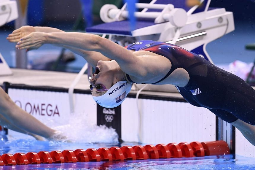Franklin competes in a women's 200m backstroke heat during the Rio 2016 Olympic Games.