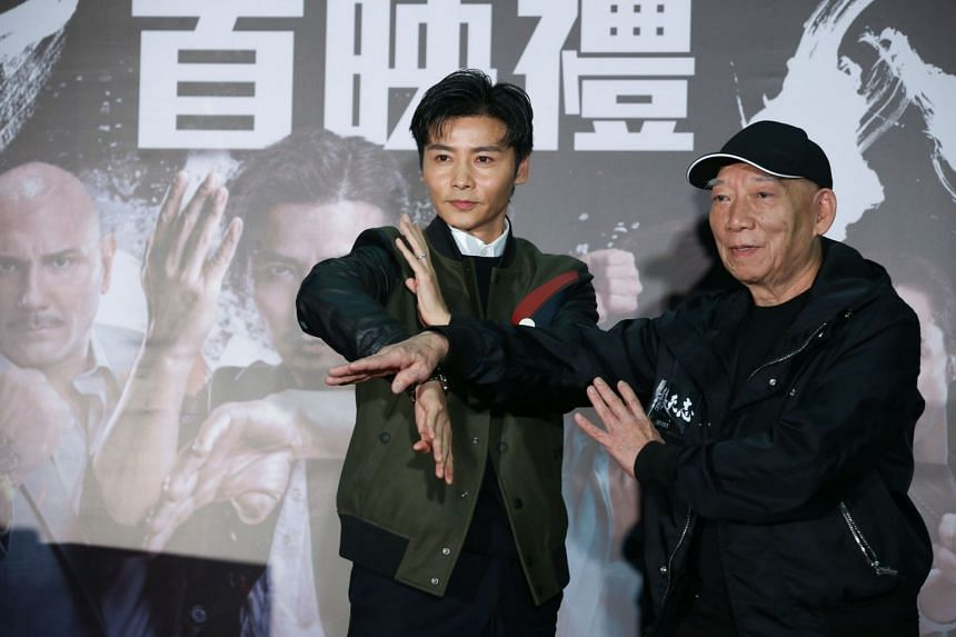 Master Z: The Ip Man Legacy star Max Zhang (left) striking a wing-chun pose with director and famed martial arts choreographer Yuen Woo-ping.