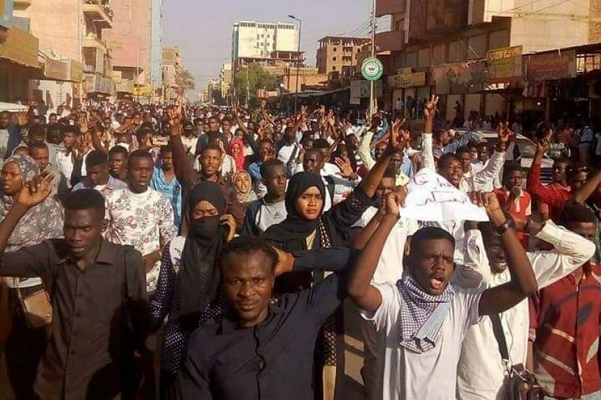 A photo posted to social media about the protests in Khartoum.