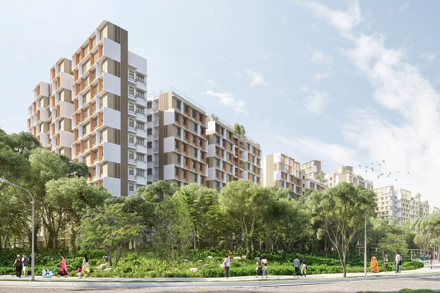 An artist's impression of the flats to be built in Plantation Grove, the first of five housing districts in the new Tengah town.