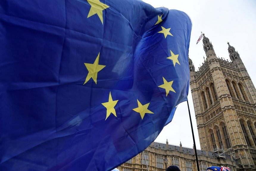 An anti-Brexit protester waves an EU flag opposite the Houses of Parliament in London, Britain, on Dec 10, 2018.