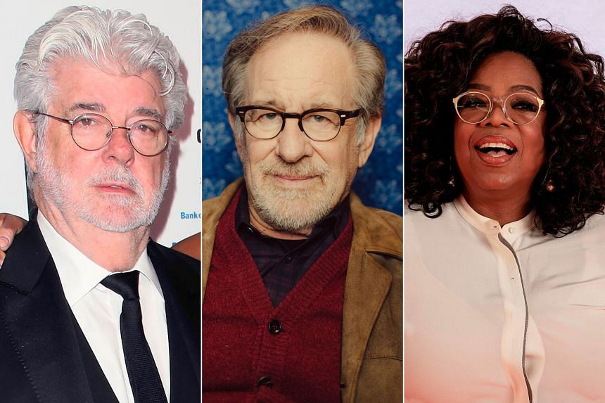 Film-maker George Lucas (left) heads the Forbes list with a net worth of US$5.4 billion (S$7.4 billion); fellow film-maker Steven Spielberg (centre) is second with US$3.7 billion and talk-show host Oprah Winfrey (right) is third with US$2.8 billion.