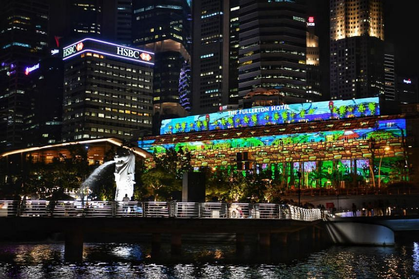 A light projection show on the facade of The Fullerton Hotel, adapted from artworks by students and beneficiaries from local schools and welfare organisations.