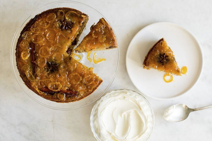 An upside-down date cake topped with kumquat marmalade and served with Cognac mascarpone.