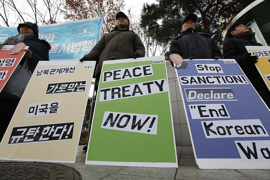 South Koreans outside the Ministry of Foreign Affairs in Seoul yesterday protesting against the visit of US Special Representative for North Korea Stephen Biegun, who is on a three-day visit of the country.