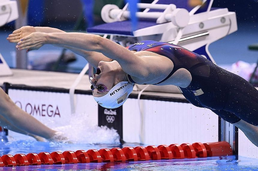Missy Franklin pushing off in her 200m backstroke heat at the 2016 Rio Olympics. The American still holds the world record for the 200m backstroke, set more than six years ago at the London Games. She retired on Wednesday at the age of 23, saying lon