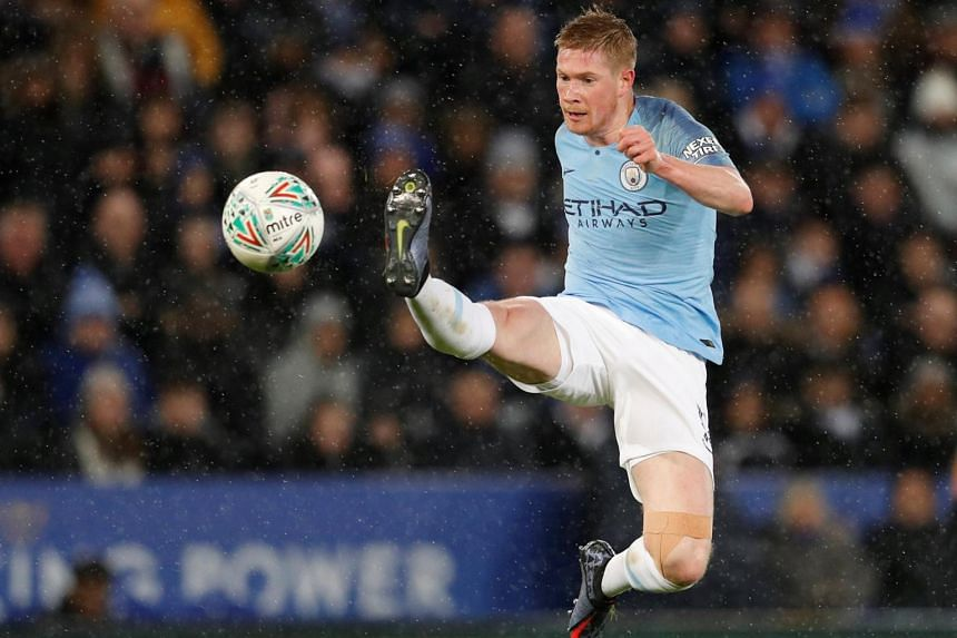 Manchester City's Kevin De Bruyne performing a kick at the English League Cup match between Leicester City and Manchester City at King Power Stadium in Leicester, England on Dec 18, 2018.