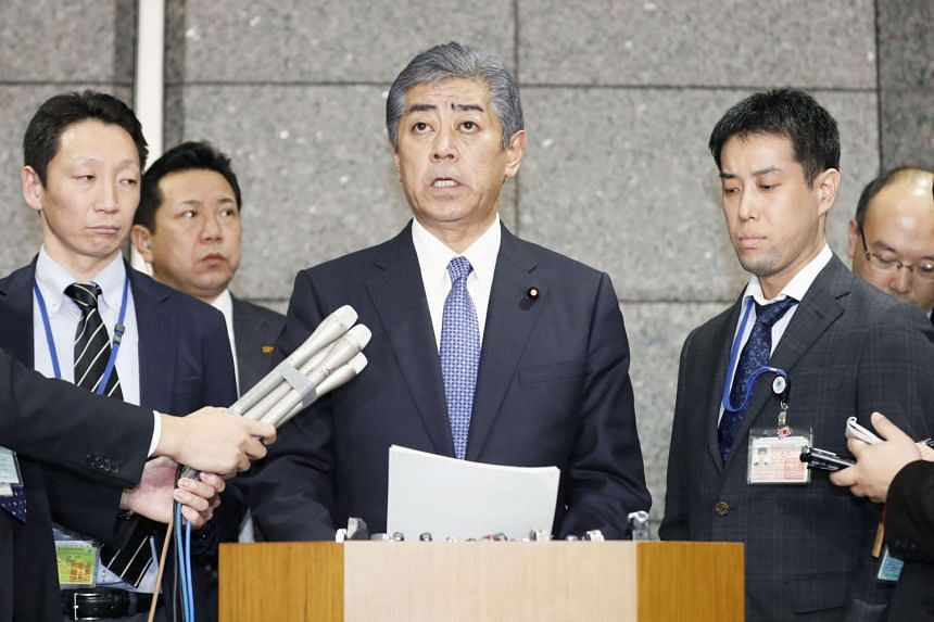 Japanese Defence Minister Takeshi Iwaya speaks during a news conference at the Defence Ministry in Tokyo on Dec 21, 2018.