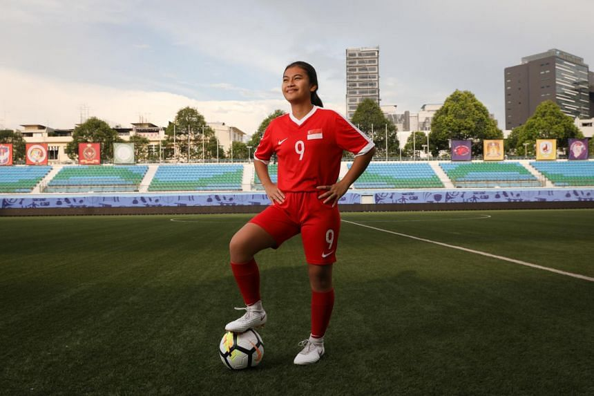 Putri Nur Syaliza, one of the winners of the ST Young Star Award and the Football Association of Singapore's Young Player of the Year.