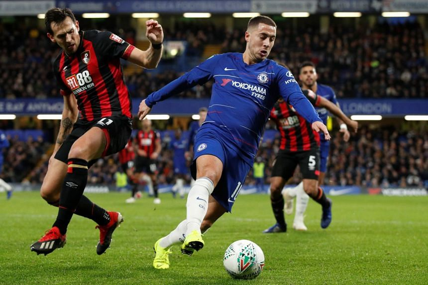 Chelsea's Eden Hazard in action with Bournemouth's Charlie Daniels.