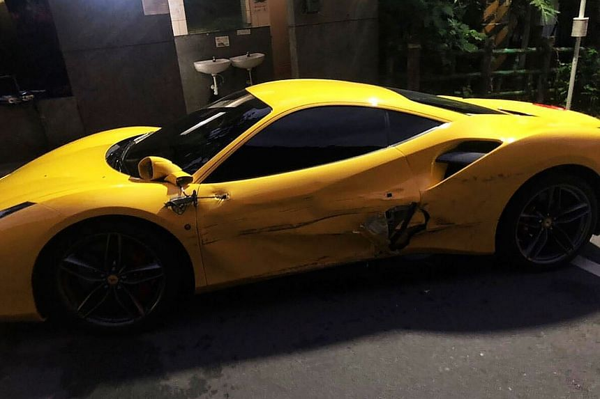 One of the three Ferraris damaged by Mr Lin Chin-hsiang, whose vehicle crashed into the cars on Sunday after he dozed off at the wheel. He had been on the way to deliver an order to a temple for his mother.