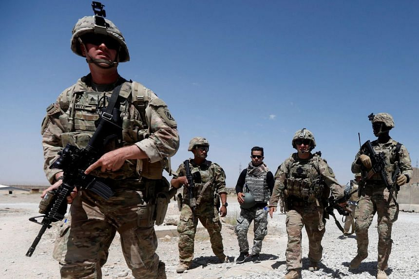 File photo of US troops patrolling an Afghan National Army Base in Logar province, Afghanistan on Aug 7, 2018.