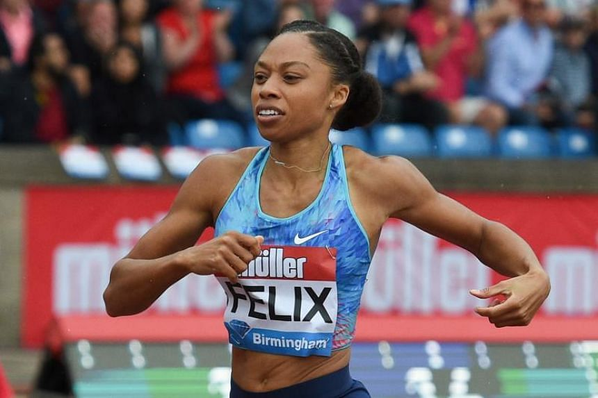 US athlete Allyson Felix competes in the women's 400m during the 2017 IAAF Birmingham Diamond League athletics meeting at Alexander Stadium in Birmingham, England, on Aug 20, 2017.