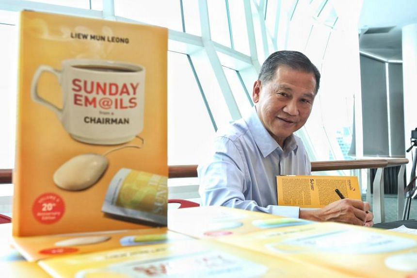 Mr Liew Mun Leong at the launch of his book titled Sunday Emails from a Chairman - 20th Anniversary Edition at the National Library on Dec 21, 2018.