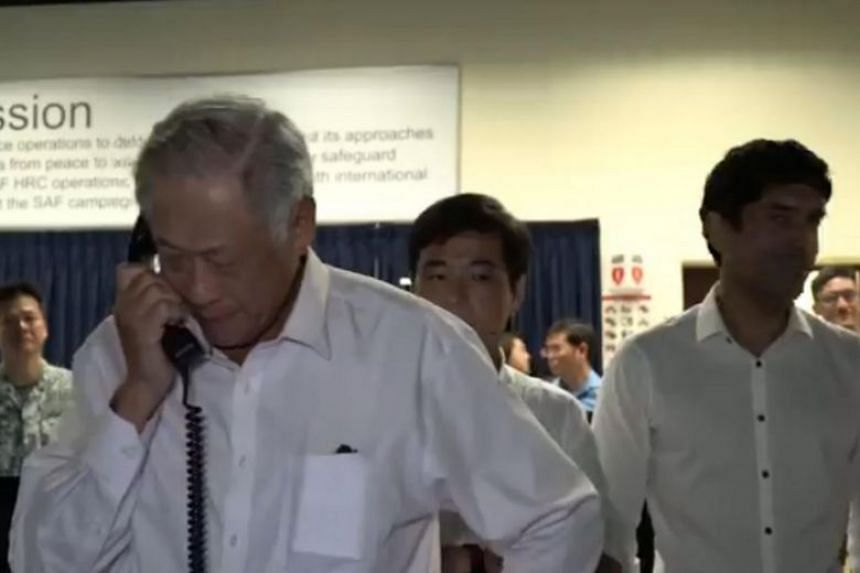 A half-minute video posted on Facebook by Defence Minister Ng Eng Hen showed him speaking with Lieutenant-Colonel Ye Yiming, the commanding officer of littoral mission vessel RSS Justice.