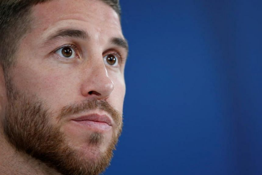 Real Madrid captain Sergio Ramos attends a press conference at Zayed Sports City stadium in Abu Dhabi, United Arab Emirates, on Dec 21, 2018.