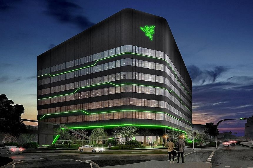 An artist's impression of the seven-storey building, which will feature design elements by Razer designers and external architects, and has an estimated gross floor area of 19,300 sq m.