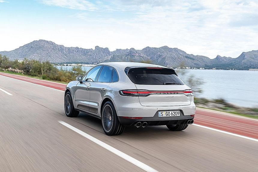 The updated Porsche Macan S sports the full-width tail lamps that are now common across the entire Porsche range.