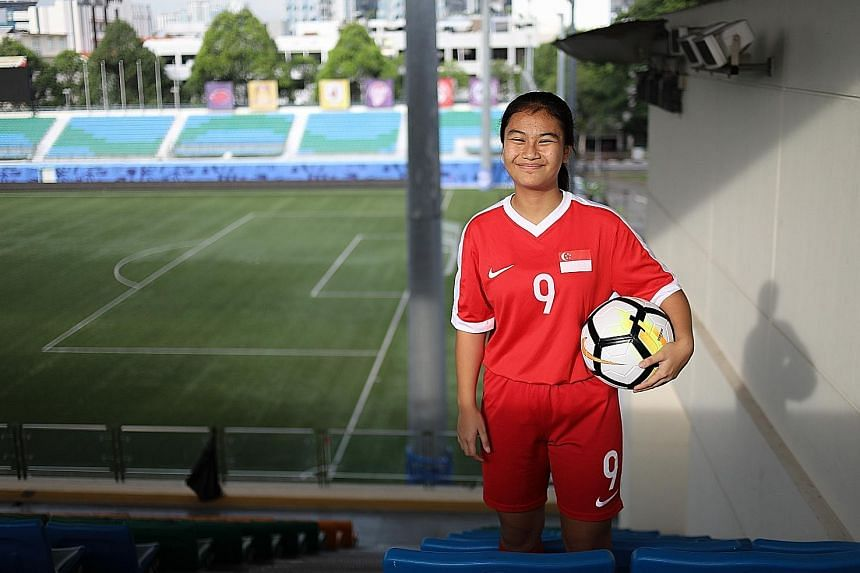 """Putri Nur Syaliza is thankful to her school, Queensway Secondary, for supporting her sporting pursuits. While the 15-year-old aims to play abroad professionally one day, she also wants to improve her defending, which she admits is """"really bad""""."""