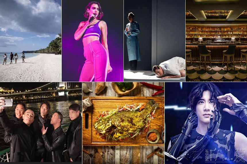 (Clockwise from top left) Philippines' Boracay island, British singer Dua Lipa, a scene from the play Leda And The Rage, Manhattan at the Regent Singapore, A.I. Love by Wang Leehom, The Grilled Whole Fish from Fat Chap and a scene from the film Golde