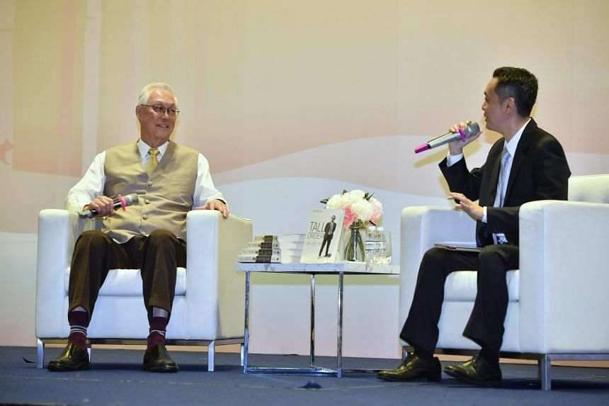 Emeritus Senior Minister Goh Chok Tong at a dialogue hosted by Mr Peh Shing Huei, the author of Mr Goh's biography Tall Order: The Goh Chok Tong Story, on Dec 22, 2018.