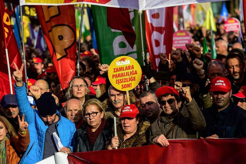 Protesters demonstrate against the Turkish government's economic policies in Istanbul.