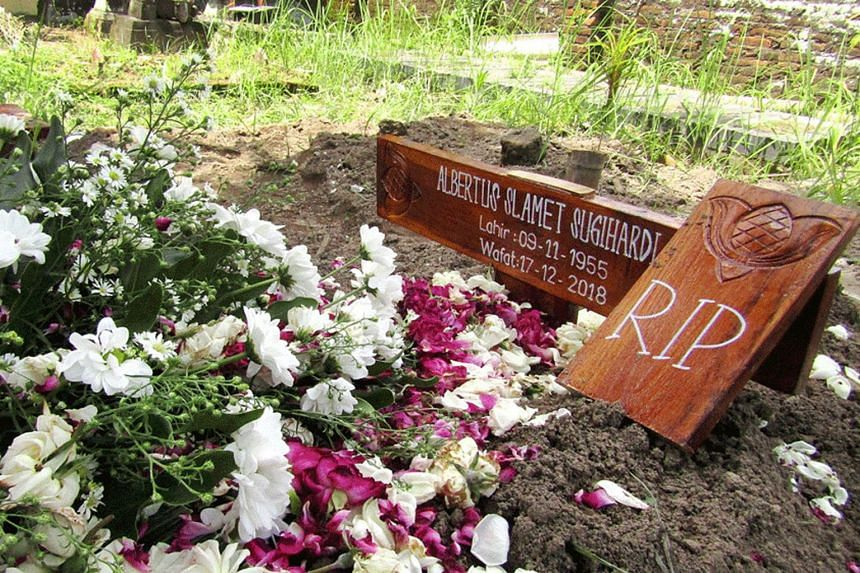 The family of Albertus Slamet Sugihardi was prohibited by Muslim neighbours from holding prayers for their dead relative and placing a wooden cross on his grave.