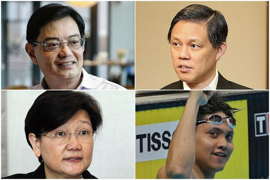 (Clockwise from top left) Finance Minister Heng Swee Keat, Trade and Industry Minister Chan Chun Sing, Olympic gold medallist Joseph Schooling and Hyflux chief executive Olivia Lum.