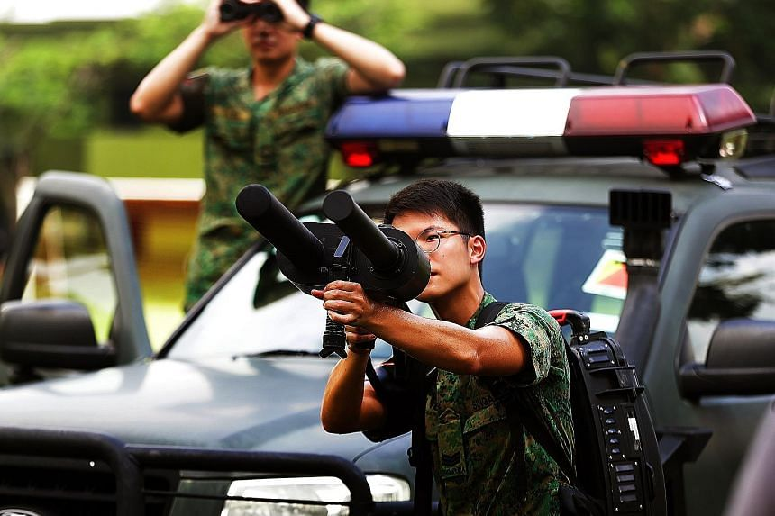 The jammer gun, which emits signals that can jam the control signals of drones, and the drone catcher system, which uses a net to catch drones, are among the Republic of Singapore Air Force's weapons that can be used against errant drones.