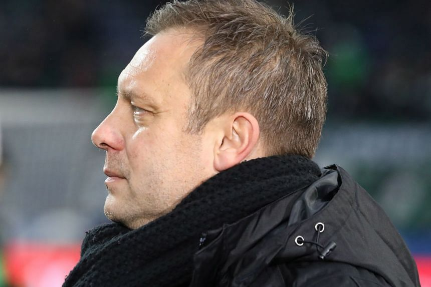 Hannover's head coach Andre Breitenreiter looking on during his team's German Bundesliga match against Fortuna Duesseldorf in Hanover, Germany, on Dec 22, 2018.