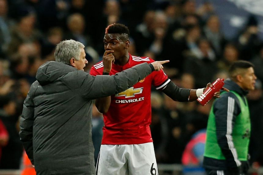 Jose Mourinho giving instructions to Paul Pogba during an EPL match against Tottenham Hotspur on Jan 31, 2018.