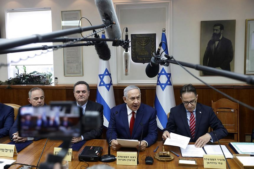 Israeli Prime Minister Benjamin Netanyahu speaking during the weekly Cabinet meeting in Jerusalem on Dec 23, 2018.
