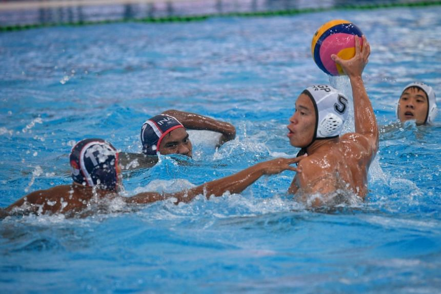 File photo showing Singapore's water polo team competing with Indonesia during the 2017 SEA Games.