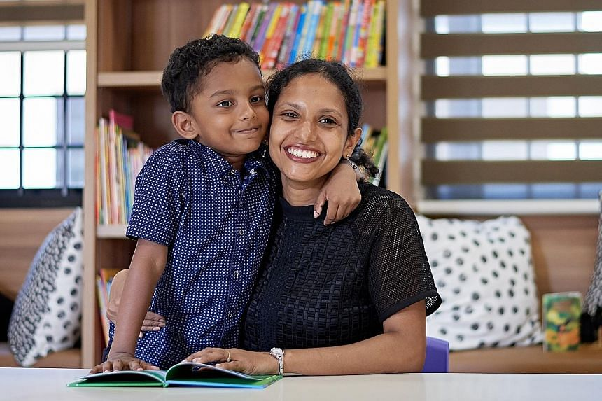 Mrs Remya Alexander with her son Timothy, who attends The Grange Institution in Yio Chu Kang. She says her son likes the smaller school setting at Grange.