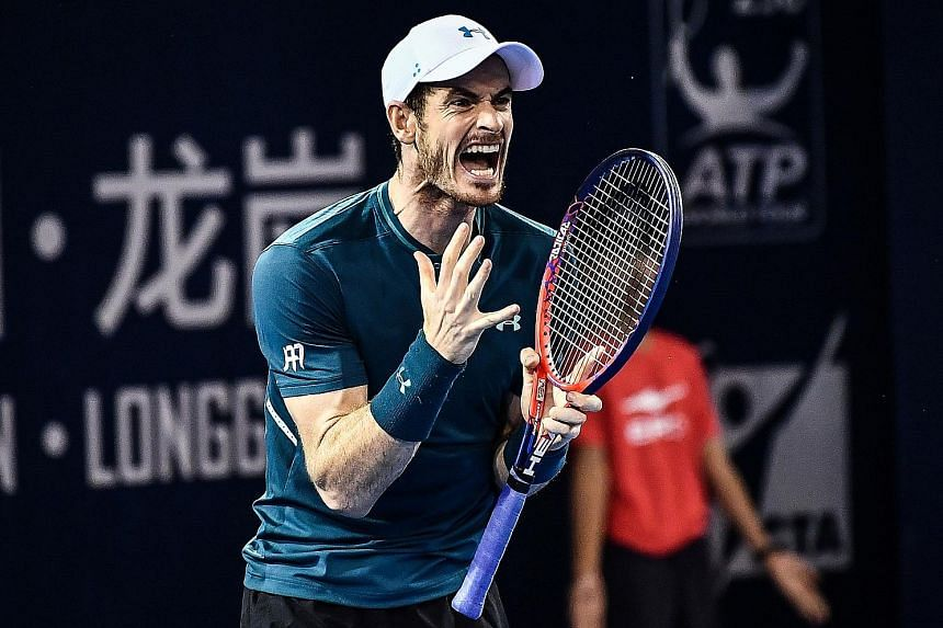 Andy Murray playing at the ATP Shenzhen Open in September. Since limping out of the Wimbledon quarter-finals last summer, his attempted comebacks have often ended in withdrawals.