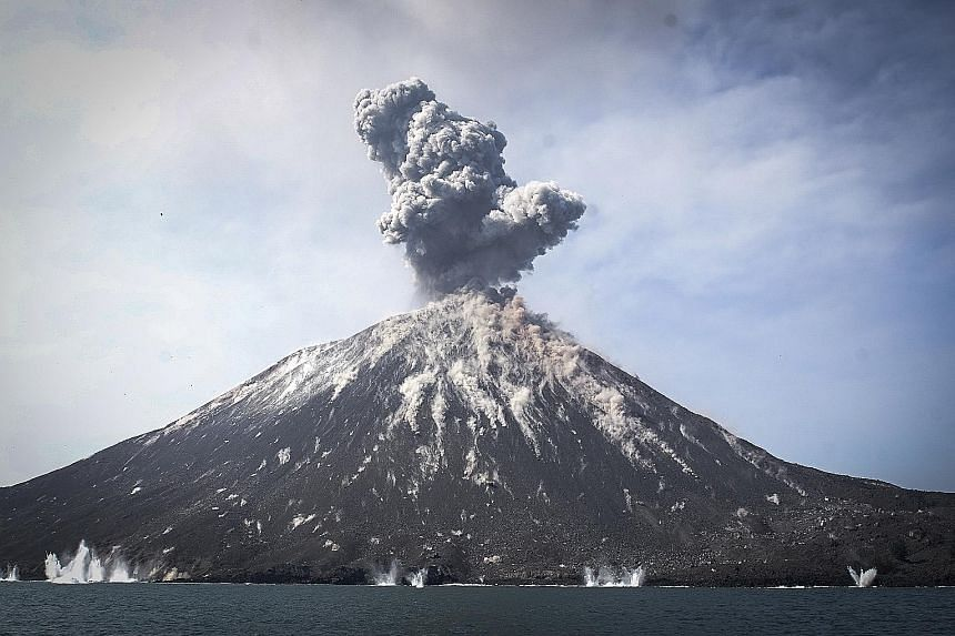 Anak Krakatau emerged around 1928 in the caldera of Krakatau, a volcanic island that violently erupted in 1883. With subsequent lava flows, it grew from a submarine setting, with the cone now 300m above sea level.