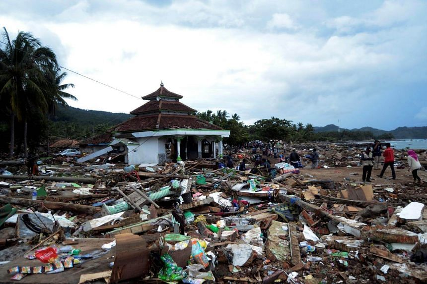 Debris seen after a tsunami hit at Rajabasa district in South Lampung, Indonesia, on Dec 23, 2018.