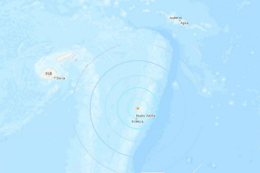 The quake struck at a moderate depth of 100 km with the epicentre some 85 km north of the Tongan capital Nuku'alofa.