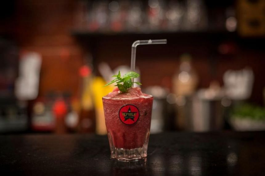 A kokroko drink at the Republic Bar & Grill, in Accra, on Dec 10, 2018. Kokroko is a cocktail made from Sobolo, a West African hibiscus drink and Akpeteshie, a traditional Ghanaian spirit made by distilling palm wine or sugar cane.