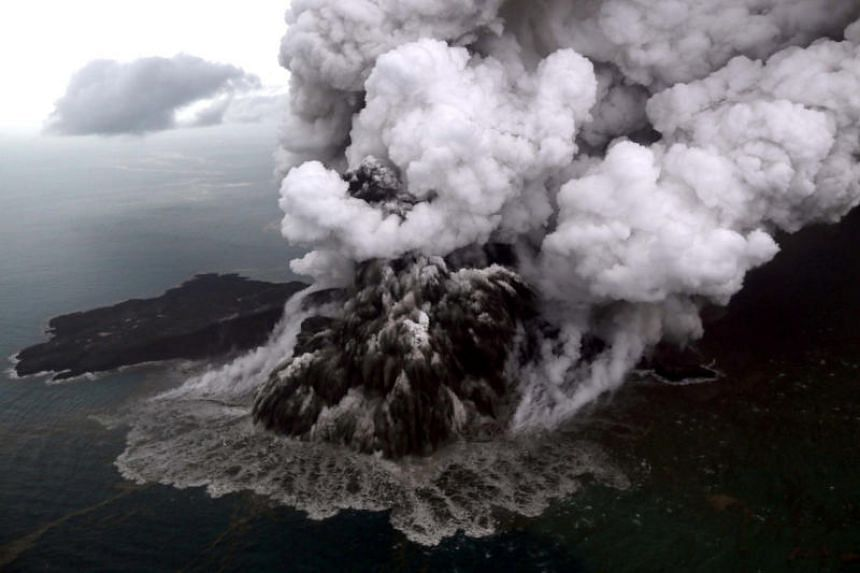 An aerial view of the Anak Krakatau volcano during an eruption at the Sunda Strait in South Lampung, Indonesia, on Dec 23, 2018.