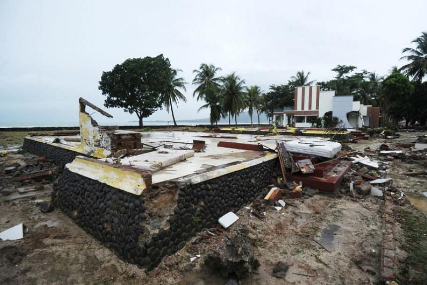 The leftover foundation of a building at the Mutiara Carita Cottages in Carita, Banten province, on Dec 24, 2018.