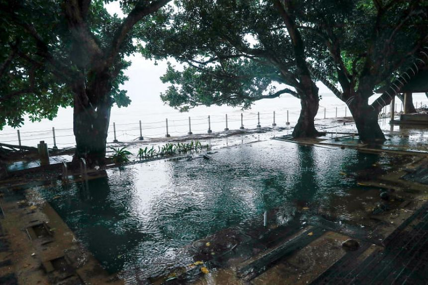 A swimming pool hit by the tsunami is pictured at a hotel near Carita beach in Pandeglang, Banten province, on Dec 24, 2018.