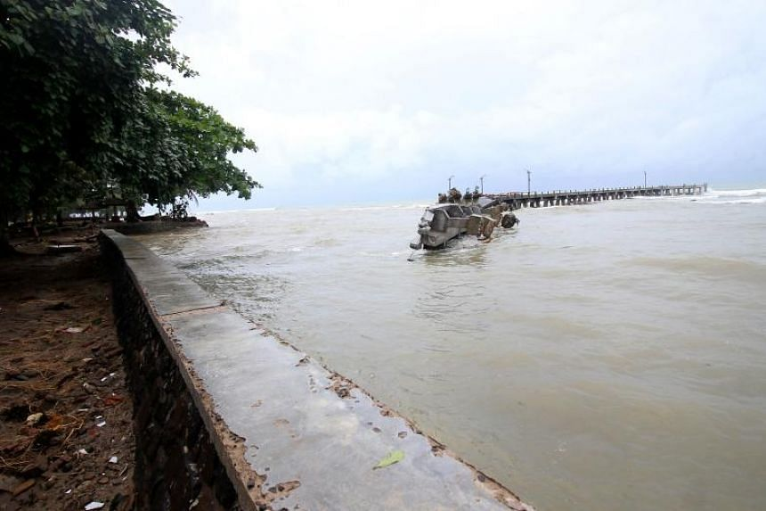 A damaged jetty is seen in Carita, on Dec 23, 2018.