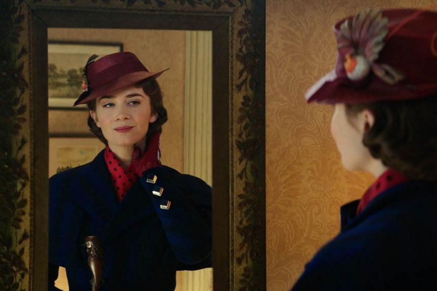 Actress Emily Blunt stars as Mary Poppins in the movie Mary Poppins Returns.