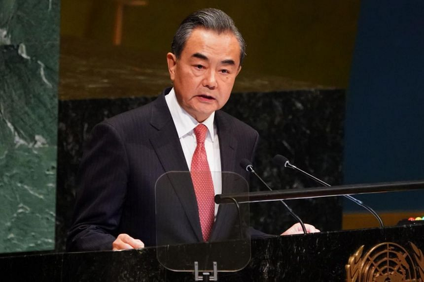 Chinese Foreign Minister Wang Yi speaks at the 73rd session of the General Assembly at the United Nations headquarters in New York on Sept 28, 2018.