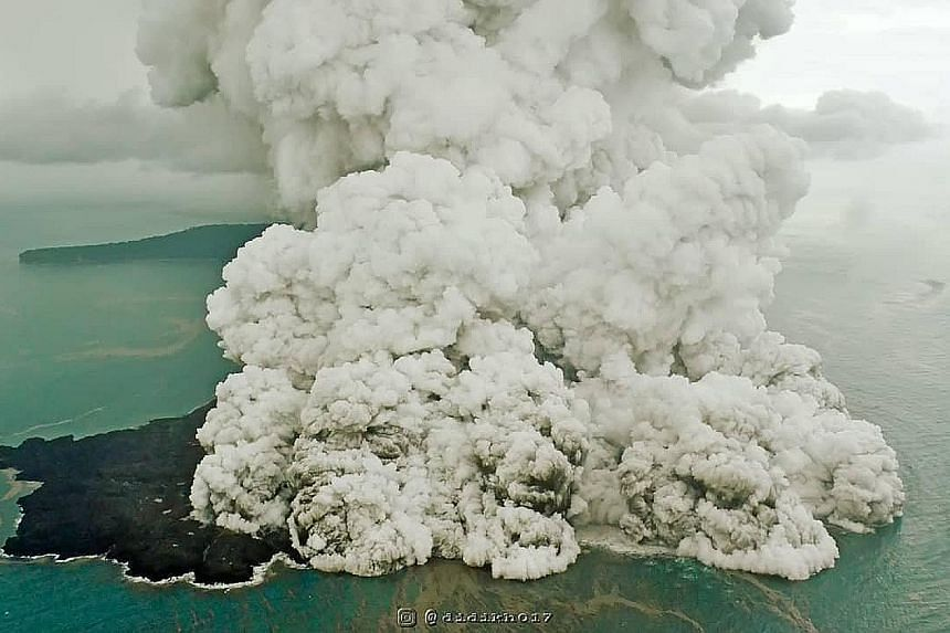Anak Krakatau unleashing a massive ash plume on Sunday as it erupted, in a photo obtained from social media.