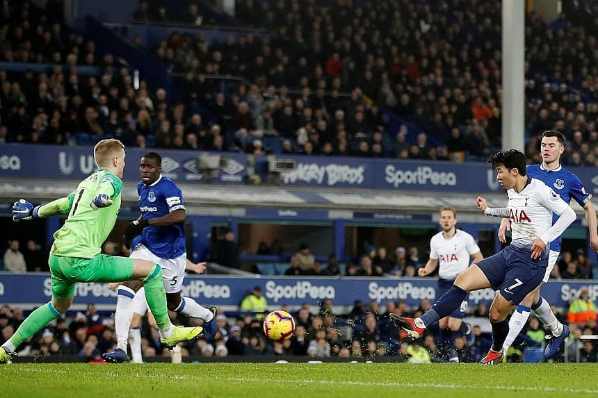 Son Heung-min scoring his second and Tottenham's fifth in the 6-2 win over Everton at Goodison Park on Sunday. Spurs will be looking for their fifth league win in a row when they host Bournemouth at Wembley tomorrow.